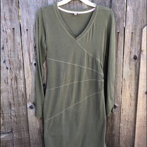 Athleta Olive Green Long Sleeve Stretch Mini Dress